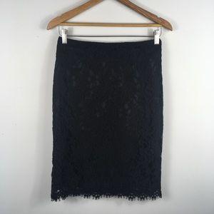 Banana Republic Black Lace Overlay Skirt Size 2